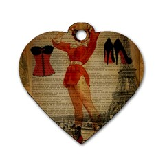 Vintage Newspaper Print Sexy Hot Gil Elvgren Pin Up Girl Paris Eiffel Tower Western Country Naughty  Dog Tag Heart (one Sided)  by chicelegantboutique