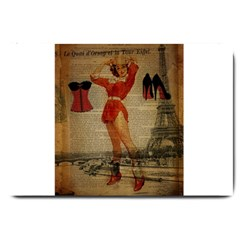 Vintage Newspaper Print Sexy Hot Gil Elvgren Pin Up Girl Paris Eiffel Tower Western Country Naughty  Large Door Mat