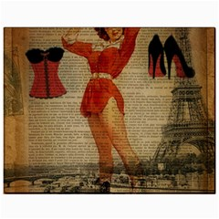Vintage Newspaper Print Sexy Hot Gil Elvgren Pin Up Girl Paris Eiffel Tower Western Country Naughty  Canvas 11  X 14  (unframed)