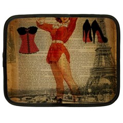 Vintage Newspaper Print Sexy Hot Gil Elvgren Pin Up Girl Paris Eiffel Tower Western Country Naughty  Netbook Case (xxl)