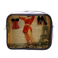 Vintage Newspaper Print Sexy Hot Gil Elvgren Pin Up Girl Paris Eiffel Tower Western Country Naughty  Mini Travel Toiletry Bag (one Side)
