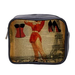 Vintage Newspaper Print Sexy Hot Gil Elvgren Pin Up Girl Paris Eiffel Tower Western Country Naughty  Mini Travel Toiletry Bag (two Sides) by chicelegantboutique