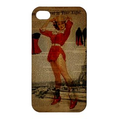 Vintage Newspaper Print Sexy Hot Gil Elvgren Pin Up Girl Paris Eiffel Tower Western Country Naughty  Apple Iphone 4/4s Premium Hardshell Case