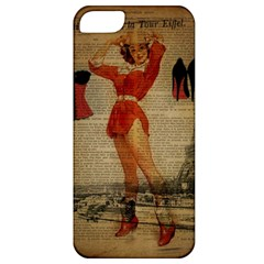 Vintage Newspaper Print Sexy Hot Gil Elvgren Pin Up Girl Paris Eiffel Tower Western Country Naughty  Apple Iphone 5 Classic Hardshell Case by chicelegantboutique
