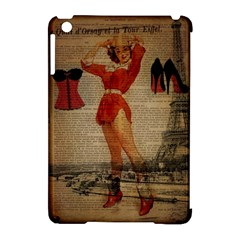 Vintage Newspaper Print Sexy Hot Gil Elvgren Pin Up Girl Paris Eiffel Tower Western Country Naughty  Apple Ipad Mini Hardshell Case (compatible With Smart Cover) by chicelegantboutique