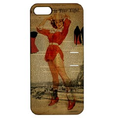 Vintage Newspaper Print Sexy Hot Gil Elvgren Pin Up Girl Paris Eiffel Tower Western Country Naughty  Apple Iphone 5 Hardshell Case With Stand by chicelegantboutique