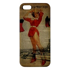 Vintage Newspaper Print Sexy Hot Gil Elvgren Pin Up Girl Paris Eiffel Tower Western Country Naughty  Iphone 5 Premium Hardshell Case by chicelegantboutique