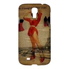 Vintage Newspaper Print Sexy Hot Gil Elvgren Pin Up Girl Paris Eiffel Tower Western Country Naughty  Samsung Galaxy S4 I9500/i9505 Hardshell Case