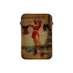 Vintage Newspaper Print Sexy Hot Gil Elvgren Pin Up Girl Paris Eiffel Tower Western Country Naughty  Apple Ipad Mini Protective Soft Case by chicelegantboutique