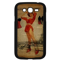 Vintage Newspaper Print Sexy Hot Gil Elvgren Pin Up Girl Paris Eiffel Tower Western Country Naughty  Samsung I9082(galaxy Grand Duos)(black)