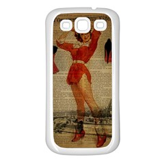 Vintage Newspaper Print Sexy Hot Gil Elvgren Pin Up Girl Paris Eiffel Tower Western Country Naughty  Samsung Galaxy S3 Back Case (white) by chicelegantboutique