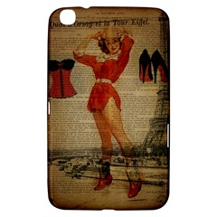 Vintage Newspaper Print Sexy Hot Gil Elvgren Pin Up Girl Paris Eiffel Tower Western Country Naughty  Samsung Galaxy Tab 3 (8 ) T3100 Hardshell Case  by chicelegantboutique