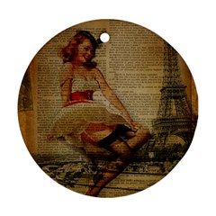 Cute Sweet Sailor Dress Vintage Newspaper Print Sexy Hot Gil Elvgren Pin Up Girl Paris Eiffel Tower Round Ornament by chicelegantboutique