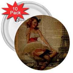Cute Sweet Sailor Dress Vintage Newspaper Print Sexy Hot Gil Elvgren Pin Up Girl Paris Eiffel Tower 3  Button (10 Pack) by chicelegantboutique