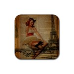 Cute Sweet Sailor Dress Vintage Newspaper Print Sexy Hot Gil Elvgren Pin Up Girl Paris Eiffel Tower Drink Coaster (Square) Front
