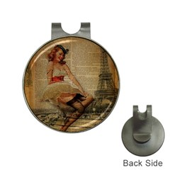 Cute Sweet Sailor Dress Vintage Newspaper Print Sexy Hot Gil Elvgren Pin Up Girl Paris Eiffel Tower Hat Clip With Golf Ball Marker by chicelegantboutique