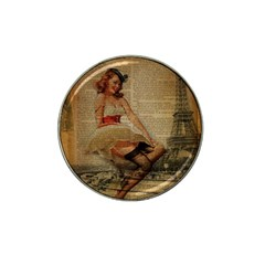 Cute Sweet Sailor Dress Vintage Newspaper Print Sexy Hot Gil Elvgren Pin Up Girl Paris Eiffel Tower Golf Ball Marker (for Hat Clip) by chicelegantboutique