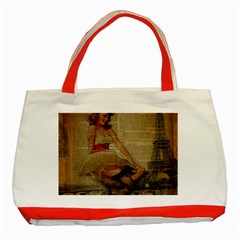 Cute Sweet Sailor Dress Vintage Newspaper Print Sexy Hot Gil Elvgren Pin Up Girl Paris Eiffel Tower Classic Tote Bag (red) by chicelegantboutique