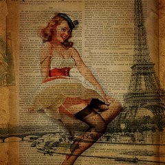 Cute Sweet Sailor Dress Vintage Newspaper Print Sexy Hot Gil Elvgren Pin Up Girl Paris Eiffel Tower Canvas 12  X 12  (unframed)