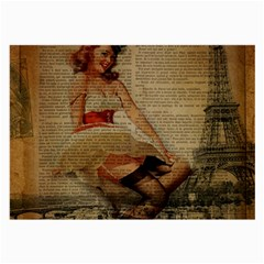 Cute Sweet Sailor Dress Vintage Newspaper Print Sexy Hot Gil Elvgren Pin Up Girl Paris Eiffel Tower Glasses Cloth (large, Two Sided) by chicelegantboutique