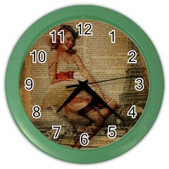 Cute Sweet Sailor Dress Vintage Newspaper Print Sexy Hot Gil Elvgren Pin Up Girl Paris Eiffel Tower Wall Clock (color) by chicelegantboutique