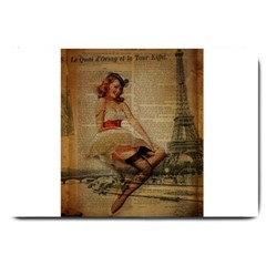 Cute Sweet Sailor Dress Vintage Newspaper Print Sexy Hot Gil Elvgren Pin Up Girl Paris Eiffel Tower Large Door Mat by chicelegantboutique