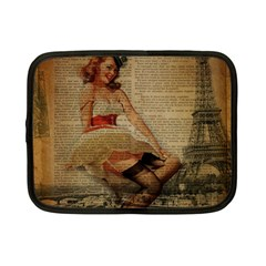 Cute Sweet Sailor Dress Vintage Newspaper Print Sexy Hot Gil Elvgren Pin Up Girl Paris Eiffel Tower Netbook Case (small) by chicelegantboutique