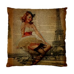 Cute Sweet Sailor Dress Vintage Newspaper Print Sexy Hot Gil Elvgren Pin Up Girl Paris Eiffel Tower Cushion Case (single Sided)