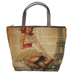 Cute Sweet Sailor Dress Vintage Newspaper Print Sexy Hot Gil Elvgren Pin Up Girl Paris Eiffel Tower Bucket Bag