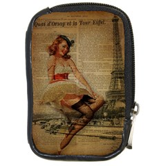 Cute Sweet Sailor Dress Vintage Newspaper Print Sexy Hot Gil Elvgren Pin Up Girl Paris Eiffel Tower Compact Camera Leather Case by chicelegantboutique
