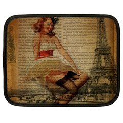 Cute Sweet Sailor Dress Vintage Newspaper Print Sexy Hot Gil Elvgren Pin Up Girl Paris Eiffel Tower Netbook Case (xl)