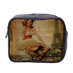 Cute Sweet Sailor Dress Vintage Newspaper Print Sexy Hot Gil Elvgren Pin Up Girl Paris Eiffel Tower Mini Travel Toiletry Bag (two Sides) by chicelegantboutique