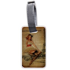 Cute Sweet Sailor Dress Vintage Newspaper Print Sexy Hot Gil Elvgren Pin Up Girl Paris Eiffel Tower Luggage Tag (two Sides) by chicelegantboutique
