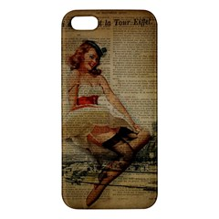 Cute Sweet Sailor Dress Vintage Newspaper Print Sexy Hot Gil Elvgren Pin Up Girl Paris Eiffel Tower Iphone 5 Premium Hardshell Case