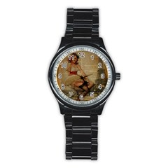 Cute Sweet Sailor Dress Vintage Newspaper Print Sexy Hot Gil Elvgren Pin Up Girl Paris Eiffel Tower Sport Metal Watch (black)