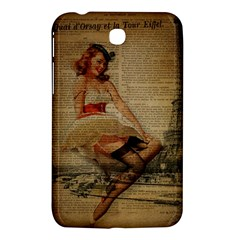 Cute Sweet Sailor Dress Vintage Newspaper Print Sexy Hot Gil Elvgren Pin Up Girl Paris Eiffel Tower Samsung Galaxy Tab 3 (7 ) P3200 Hardshell Case  by chicelegantboutique