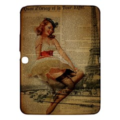 Cute Sweet Sailor Dress Vintage Newspaper Print Sexy Hot Gil Elvgren Pin Up Girl Paris Eiffel Tower Samsung Galaxy Tab 3 (10 1 ) P5200 Hardshell Case