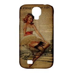 Cute Sweet Sailor Dress Vintage Newspaper Print Sexy Hot Gil Elvgren Pin Up Girl Paris Eiffel Tower Samsung Galaxy S4 Classic Hardshell Case (pc+silicone) by chicelegantboutique