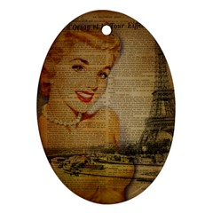 Yellow Dress Blonde Beauty   Oval Ornament by chicelegantboutique
