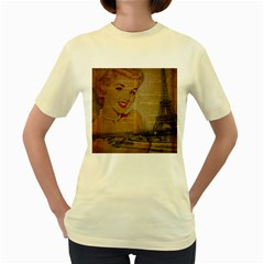 Yellow Dress Blonde Beauty    Womens  T-shirt (yellow) by chicelegantboutique