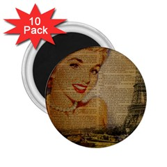 Yellow Dress Blonde Beauty   2 25  Button Magnet (10 Pack) by chicelegantboutique