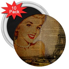 Yellow Dress Blonde Beauty   3  Button Magnet (10 Pack)