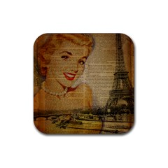 Yellow Dress Blonde Beauty   Drink Coaster (square) by chicelegantboutique