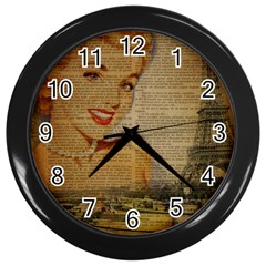 Yellow Dress Blonde Beauty   Wall Clock (black)