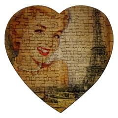 Yellow Dress Blonde Beauty   Jigsaw Puzzle (heart)