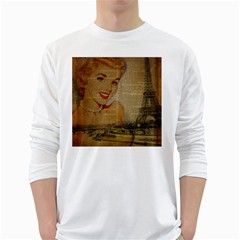 Yellow Dress Blonde Beauty   Mens' Long Sleeve T Shirt (white) by chicelegantboutique