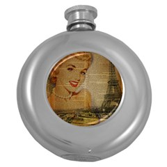 Yellow Dress Blonde Beauty   Hip Flask (round) by chicelegantboutique