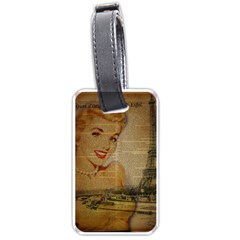 Yellow Dress Blonde Beauty   Luggage Tag (two Sides) by chicelegantboutique