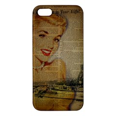 Yellow Dress Blonde Beauty   Iphone 5s Premium Hardshell Case by chicelegantboutique