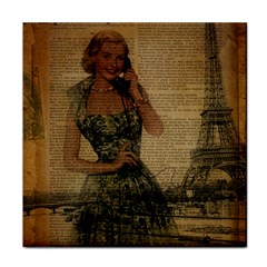 Retro Telephone Lady Vintage Newspaper Print Pin Up Girl Paris Eiffel Tower Ceramic Tile by chicelegantboutique
